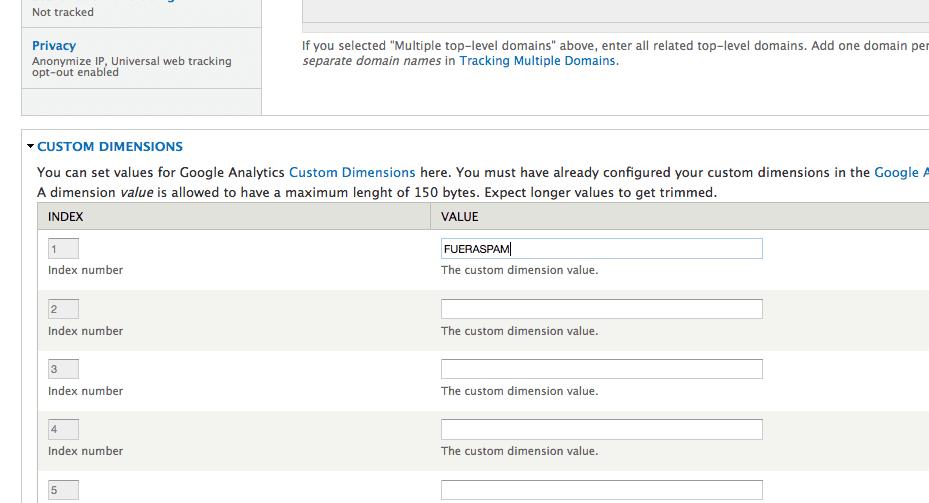 Valor de la dimensión personalizada creada para Drupal